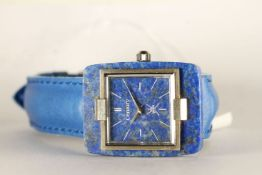 GENTLEMENS 18CT WHITE GOLD CENTURY WRISTWATCH, square lapis lazuli dial with silver sword hands,