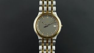 UNISEX CHOPARD BI COLOUR MONTE CARLO WRISTWATCH, circular grey dial with gold baton hour markers and