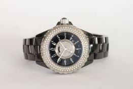 LADIES CHANEL J12 CERAMIC QUARTZ, circular dial set with diamonds, black outer dial with white