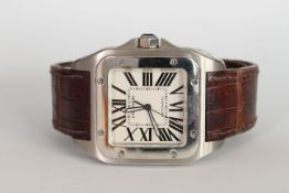 CARTIER SANTOS 100 AUTOMATIC REFERENCE 2858, square white dial with Roman numerals, polished