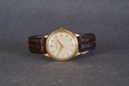 GENTLEMENS IWC SCHAFFHAUSEN 18CT GOLD WRISTWATCH, circular patina dial with gold pencil hour markers
