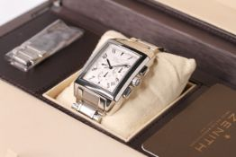 GENTLEMENS ZENITH PORT ROYAL V WRISTWATCH REF 03.0550.400/02 W/BOX & PAPERS, rectangular silver tone