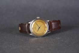 GENTLEMENS OMEGA AUTOMATIC BUMPER WRISTWATCH CIRCA 1949 - 1950, circular two tone patina dial with