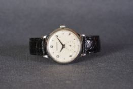 GENTLEMENS JAEGER LE COULTRE OVERSIZE WRISTWATCH, circular off white dial with applied silver
