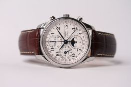 2018 LONGINES MASTER COLLECTION MOONPHASE CHRONOGRAPH REFERENCE L2.673.4 WITH BOX AND PAPERS, silver