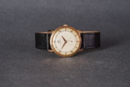 GENTLEMENS OMEGA AUTOMATIC 18CT ROSE GOLD WRISTWATCH, circular two tone dial with applied gold