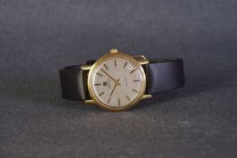 GENTLEMENS ZENITH AUTOMATIC DATE 18CT GOLD WRISTWATCH, circular silver brushed dial with gold and