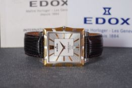 GENTLEMENS EDOX CALSSE ROYALE ULTRA SLIM DATE WRISTWATCH W/ GUARANTEE CARD, rectangular two tone