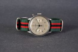 GENTLEMENS LEMANIA MILITARY MONOPUSHER CHRONOGRAPH WRISTWATCH REF. 28ET, circular twin register