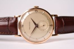 VINTAGE 18CT ROSE GOLD JAEGER-LECOULTRE, circular dial, rose gold hands, baton and Arabic