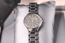 GENTLEMENS RADO TRUE THINLINE WRISTWATCH W/BOX & PAPERS, circular black dial with hour markers, 30mm