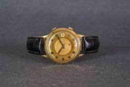 GENTLEMENS JAEGER LE COULTRE 18CT GOLD MEMOVOX ALARM WRISTWATCH 1960s, circular two tone patina gold