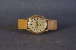 GENTLEMENS SEIKO AUTOMATIC DX DAY DATE WRISTWATCH, circular gold linen sector dial with gold and
