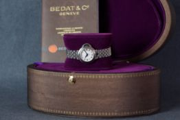LADIES BEDAT & CO WRISTWATCH W/ BOX & PAPERS REF. 827, circular two tone guilloche dial with black