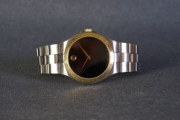 GENTLEMENS MOVADO MUSEUM WRISTWATCH, circular black mystery dial with a gold plot at 12 and gold