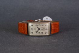 GENTLEMENS OMEGA POWERED GONDOLO SILVER WRISTWATCH, rectangular re finished dial which has been
