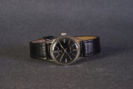 GENTLEMENS FAVRE-LEUBA SEA KING WRISTWATCH, circular black dial with silver applied hour markers and
