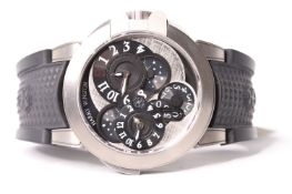 GENTLEMENS HARRY WINSTON OCEAN DUAL TIME MONOCHROME WRISTWATCH REF OCEATZ44 W/BOX & BOOKLET,