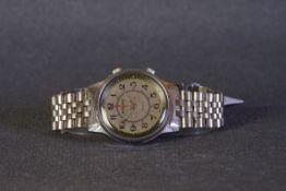 GENTLEMENS POLJOT ALARM WRISTWATCH, circular silver dial with black arabic numeral hour markers
