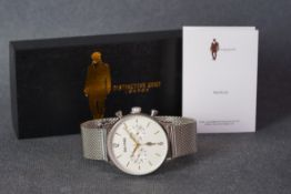 GENTLEMENS DISTINCTIVE GENT LONDON CHRONOGRAPH WRISTWATCH W/ BOX & BOOKLET, circular silver twin