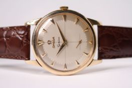 VINTAGE 1950S OMEGA GENEVE 9CT DRESS WATCH, circular two tone quartered dial, dagger hour markers,