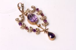 Art Nouveau Amethyst and Pearl Pendant, central Amethyst with Amethyst drop, seed pearl set