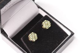 Pair of Green Topaz Daisy Style Earrings, comes with a box