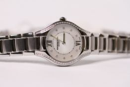 LADIES RAYMOND WEIL NOEMIA REF 00985 W/BOX & PAPERS, circular mother of pearl dial set with diamonds