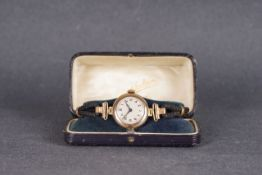 LADIES ROLEX ADMIRALTY 9CT GOLD COCKTAIL WATCH W/ BOX CIRCA 1917, circular guilloche dial with black