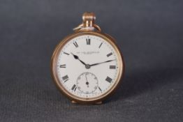 VINTAGE SIR JOHN BENNETT LTD LONDON 9CT ROSE GOLD POCKET WATCH CIRCA 1922, circular white dial