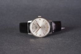 GENTLEMENS NOS LONGINES WRISTWATCH, circular silver dial with applied stick and arabic numeral