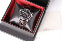 GENTLEMENS CHOPARD 1000 MIGLIA GMT WRISTWATCH REF 1720335 W/BOX & PAPERS, circular black dial with