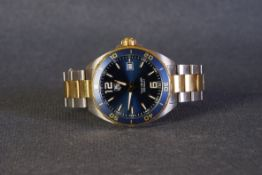 GENTLEMENS TAG HEUER FORMULA 1 DATE WRISTWATCH REF. WAZ1120, circular blue dial with gold applied
