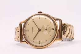 VINTAGE 18CT CORONA DRESS WATCH, gilt dial, dot and Roman numeral hour markers, 34mm case, case back