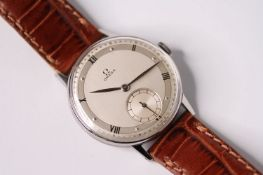 VINTAGE 1940S OMEGA DRESS WATCH REFERENCE 2318, circular silvered two tone dial with subsidiary