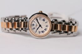 LADIES LONGINES PRIMALUNA WRISTWATCH W/BOX & PAPERS, circular cream dial with roman numerals, date