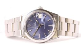 VINTAGE TUDOR PRINCE - QUARTZ OYSTER DATE, REFERENCE 91500, circular blue dial, baton hour