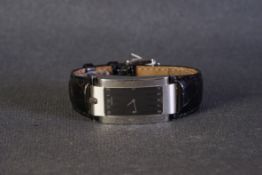 GENTLEMENS MOVADO ELLIPTICA WRISTWATCH REF. 1481, rectangular black dial with white arabic numeral