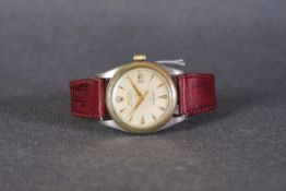 GENTLEMENS ROLEX OYSTER PERPETUAL STEEL & GOLD WRISTWATCH REF. 6105 CIRCA 1950s, circular patina off