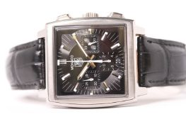 TAG HEUER MONACO WITH BOX AND PAPERS 2014 REFERENCE CW2111-0, black dial with block hour markers,