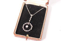 Edwardian Diamond Drop Pendant, central old cut diamond, estimated weight 0.35ct, I/J - SI2/I,