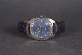 GENTLEMENS ZENITH SPORTO 28800 DATE WRISTWATCH, circular blue dial with hour markers and hands, date