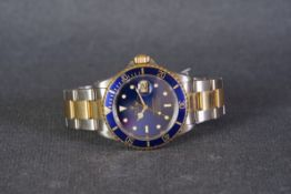 GENTLEMENS ROLEX OYSTER PERPETUAL DATE SUBMARINER STEEL & GOLD WRISTWATCH W/ BOX REF. 16613 CIRCA