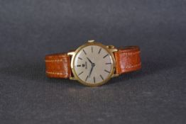 GENTLEMENS NIVADA GOLD PLATED WRISTWATCH, circular patina dial with baton hour markers and gun metal