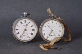 PAIR OF ANTIQUE LARGE SILVER POCKET WATCHES, skarratt & co and an acme lever, both with white