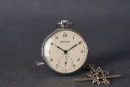GENTLEMENS SEKONDA POCKET WATCH, circular cream dial with black arabic numeral hour markers and