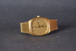 GENTLEMENS OMEGA DE VILLE QUARTZ WRISTWATCH, rounded champagne dial with stick hour markers and