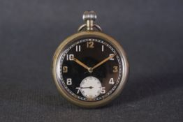 VINTAGE RECORD G.S.T.P. WWII MILITARY POCKET WATCH, circular black dial with arabic numeral hour