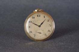 VINTAGE AERO 9CT GOLD POCKET WATCH, circular patina dial with black arabic numeral hour markers
