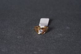9CT GOLD SOLITAIRE SIGNET RING, 9ct gold ring set with a clear stone, approx net weight 4.83g.***